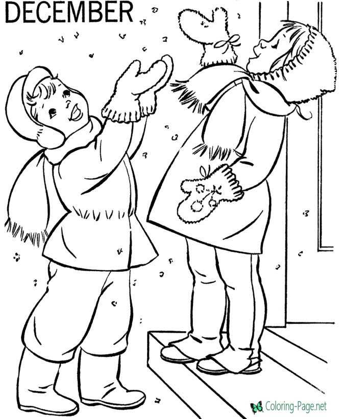 Printable Winter Coloring Pages December