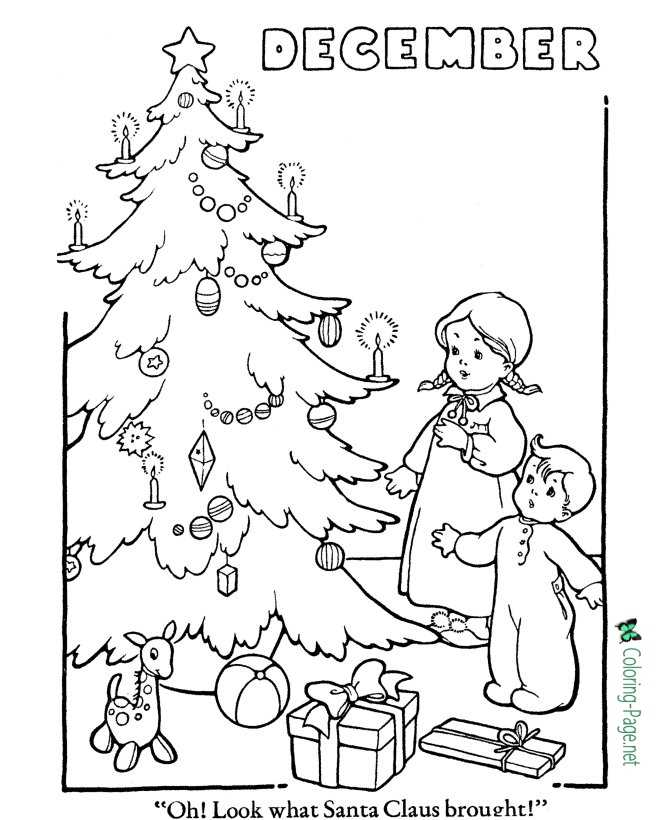 Printable Winter Coloring Pages Christmas Tree