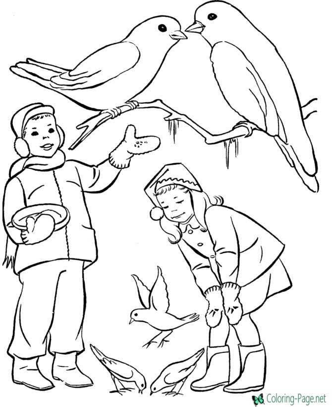 Winter Coloring Pages Girls feed Birds