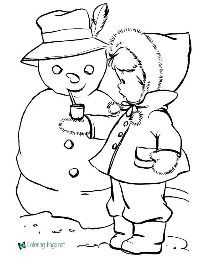 Winter Coloring Pages Girl makes Snowman