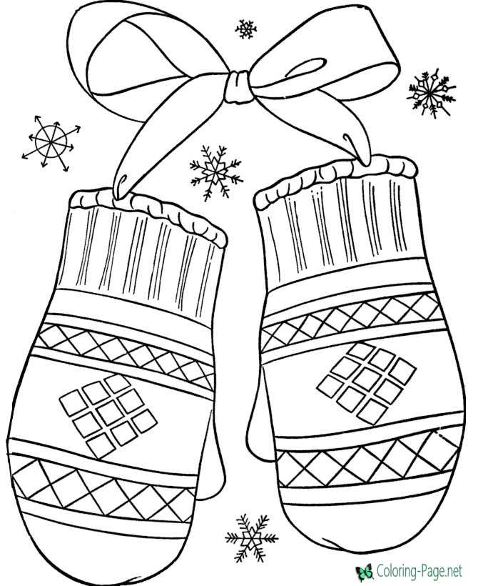 Winter Coloring Pages Winter Mittens