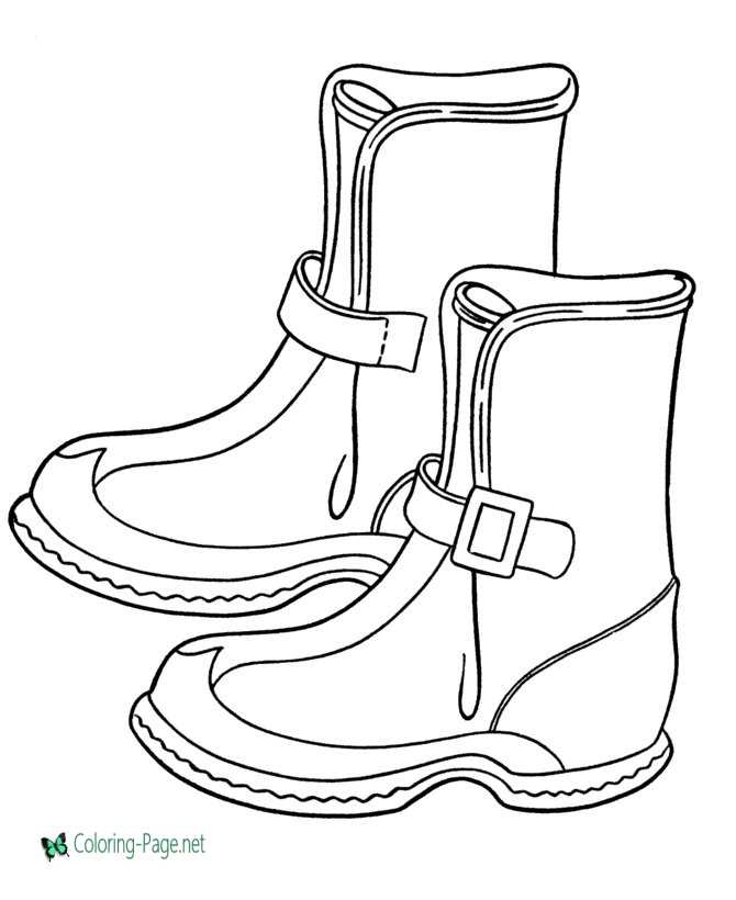 Winter Coloring Pages Boots to Print