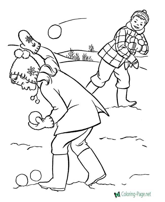 winter coloring pages snowball fight