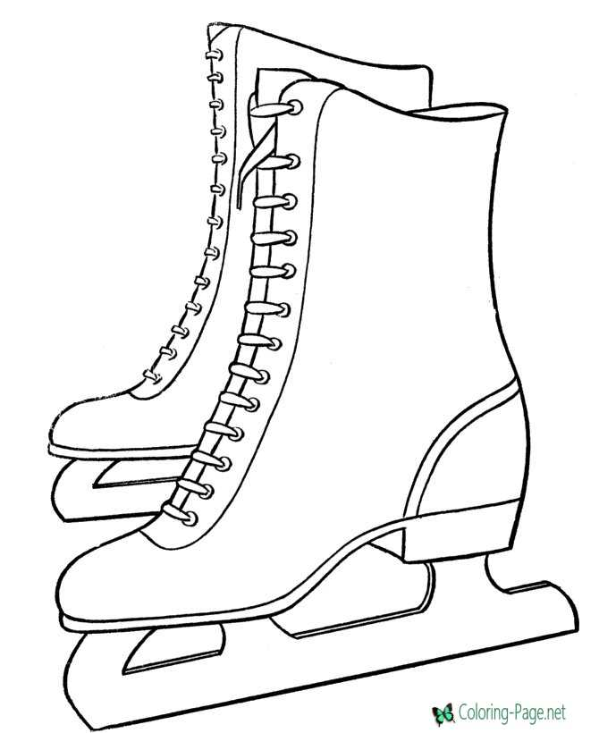 Winter Coloring Pages Skates to Color