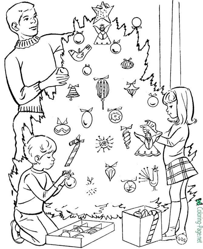 Winter Coloring Pages Girl Christmas Tree
