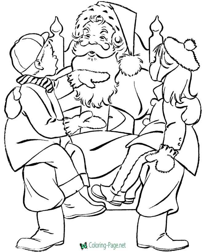 Winter Coloring Pages Santa Claus and Kids