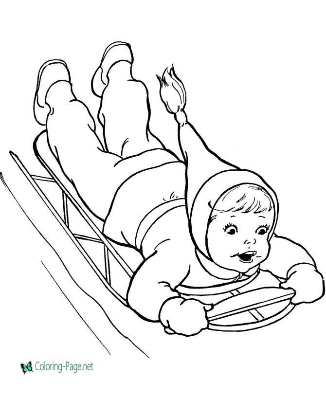 Winter Coloring Pages Girl Sledding Fun