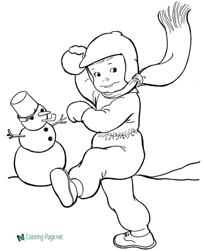 Winter Coloring Pages Snowman Snowball