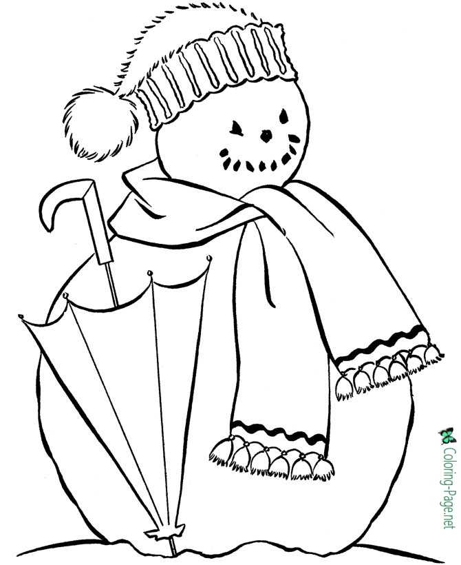 Winter Coloring Pages Snowman to Print
