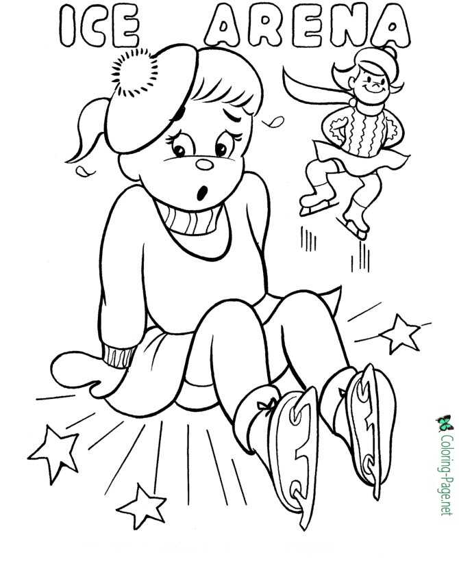 Winter Coloring Pages Girls Skating Arena