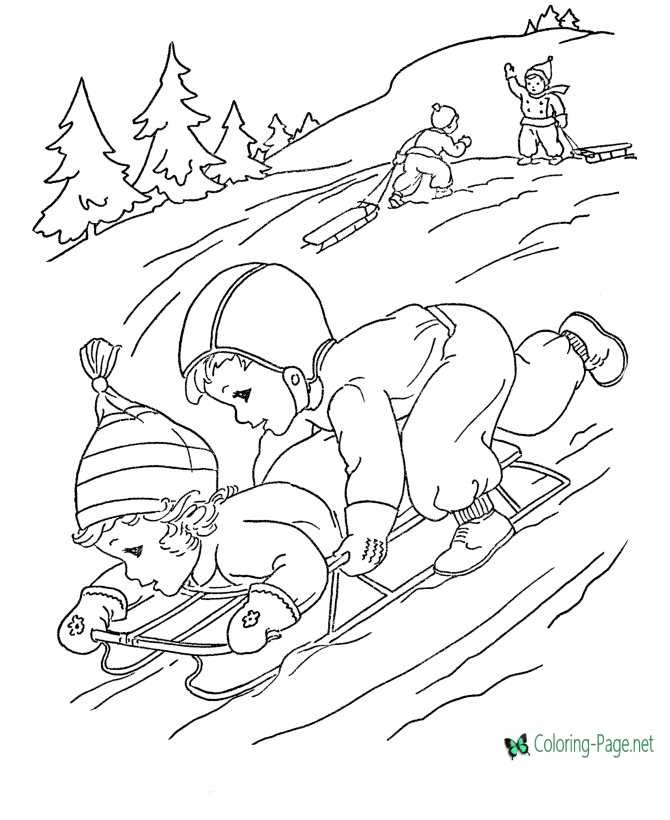 Winter Coloring Pages Girls Sledding Downhill