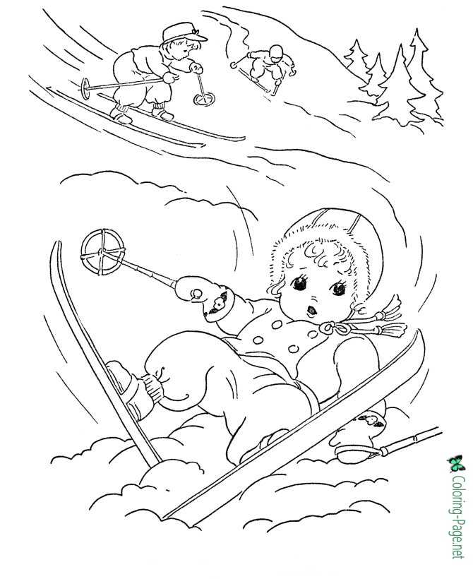 Winter Coloring Pages Girl Skiing Fall