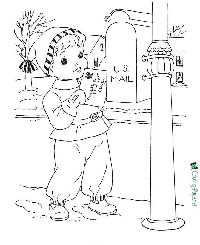 Winter Coloring Pages Santa Letter