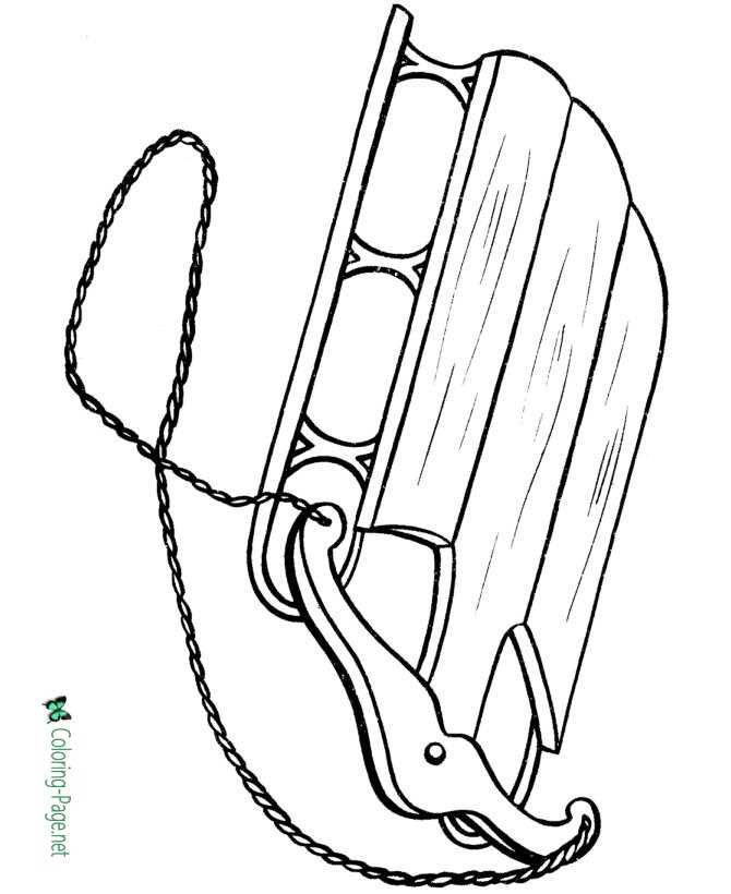 Winter Coloring Pages Printable Sled