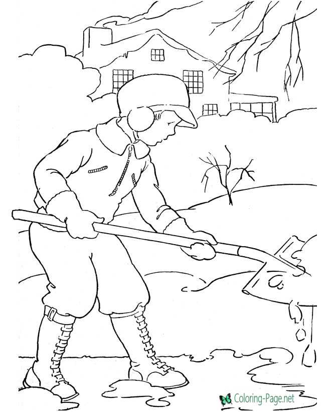 Winter Coloring Pages Boy Shoveling Snow