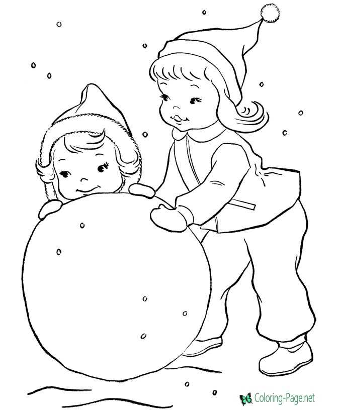 Girls Snowman Winter Coloring Pages